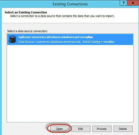 Select an Existing Connection to the SQL Azure database