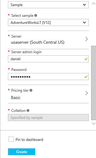 Specify the user name and password for the SQL Azure instance