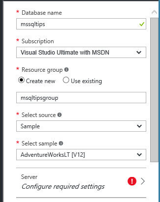 Configure a sample database in SQL Azure