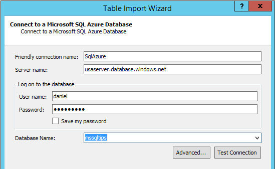 Table Import Wizard to specifiy the friendly name and credentials for the Azure instance