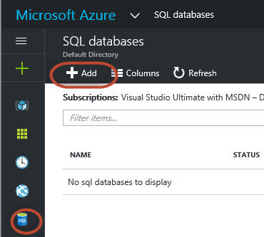 Microsoft Azure add SQL Databases