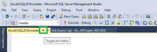 Pin Tabs in SQL Server Management Studio