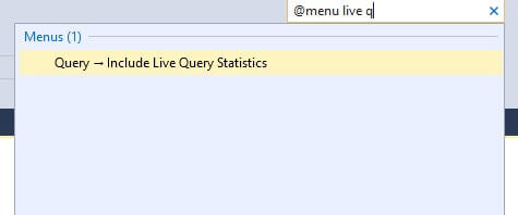SSMS Quick Launch for menus only for live q