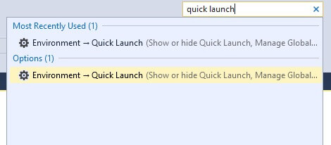 SSMS Quick Launch Settings