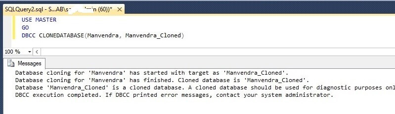 Create cloned database Manvendra_cloned
