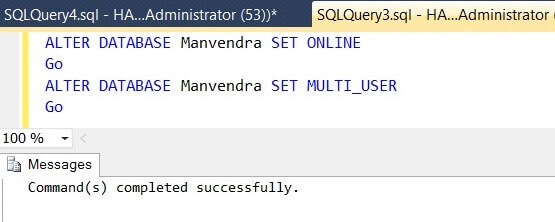 Bring the SQL Server database Online