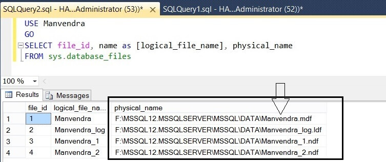 Check physical file names for the SQL Server Database