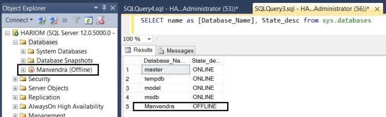 Check the SQL Server database to see if it is in offline mode