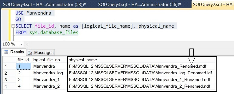 Verify the SQL Server database file name changes