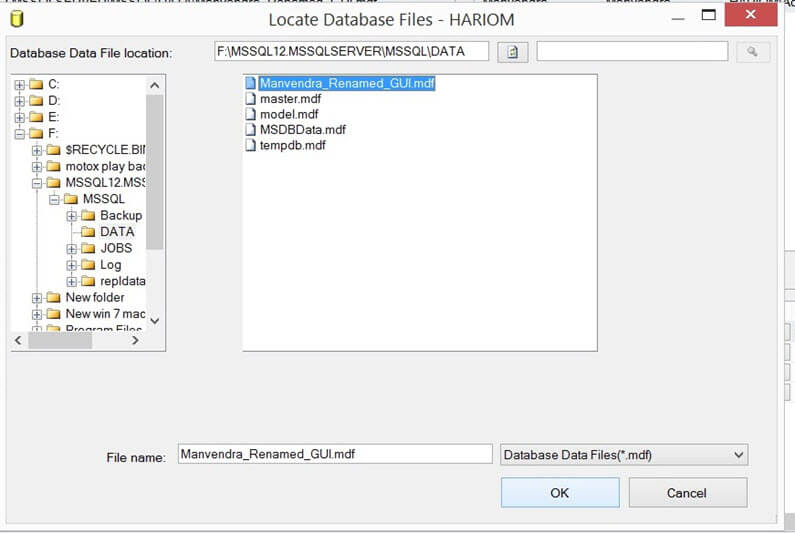 Choose database files
