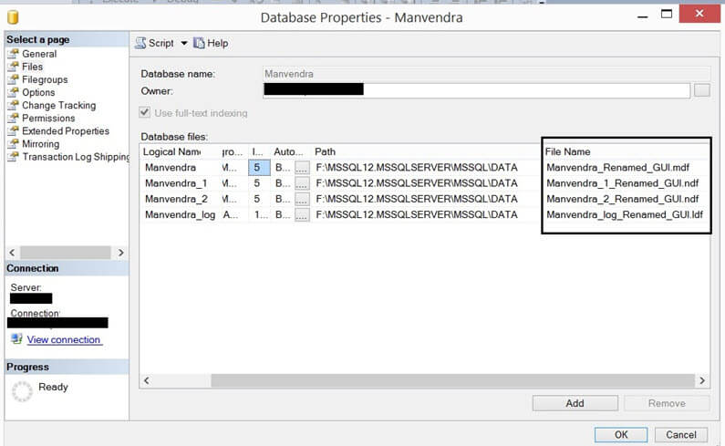 Vaidate the new database file names