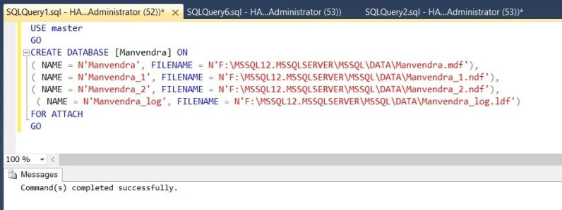 Attach the SQL Server database