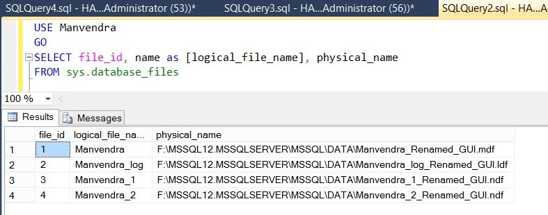 Check physical file names of the SQL Server database in Management Studio