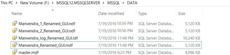 Review the SQL Server database file names