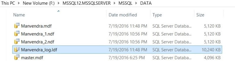 Rename the SQL Server database files