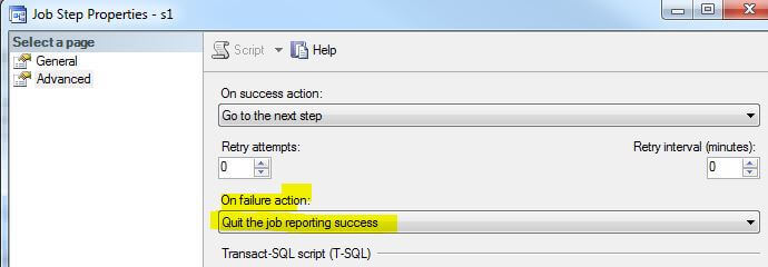 SQL Server Agent Job Step Configuration to Quit the Job Reporting Success