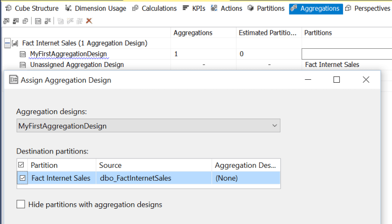 Assign Aggregation Design in SQL Server Analysis Services