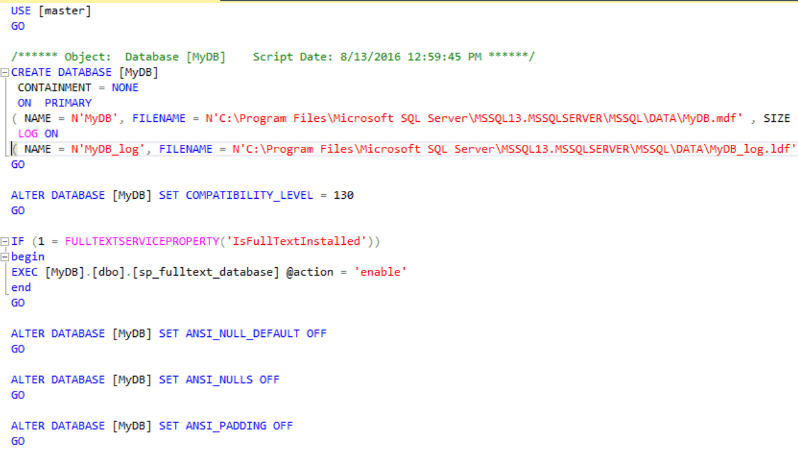 Default Script without the SQL Server Collation