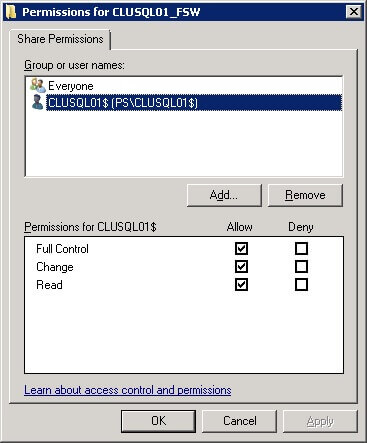 The account that requires permissions on the file share is the cluster computer named object