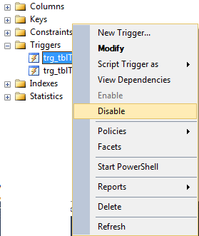 disable triggers