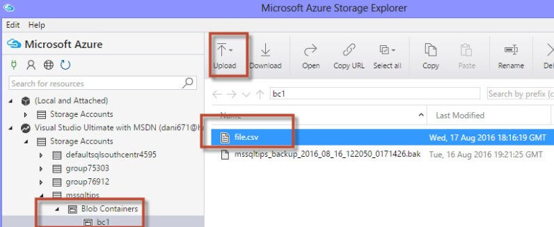 How to import data from Azure Blob Storage to a local file with SQL
