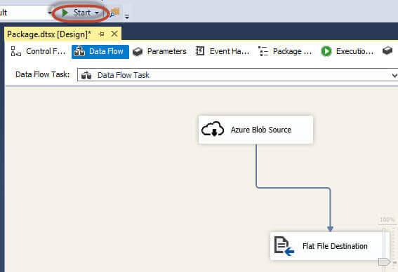 Start the SSIS Package in SSDT