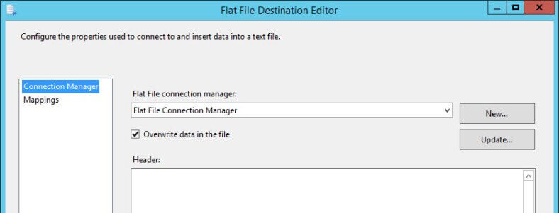 Flat File Destination Editor