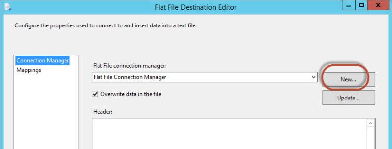 Setup a new connection in the Flat File Destination Editor