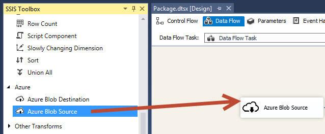 Drag an Azure Blob Source into the Data Flow