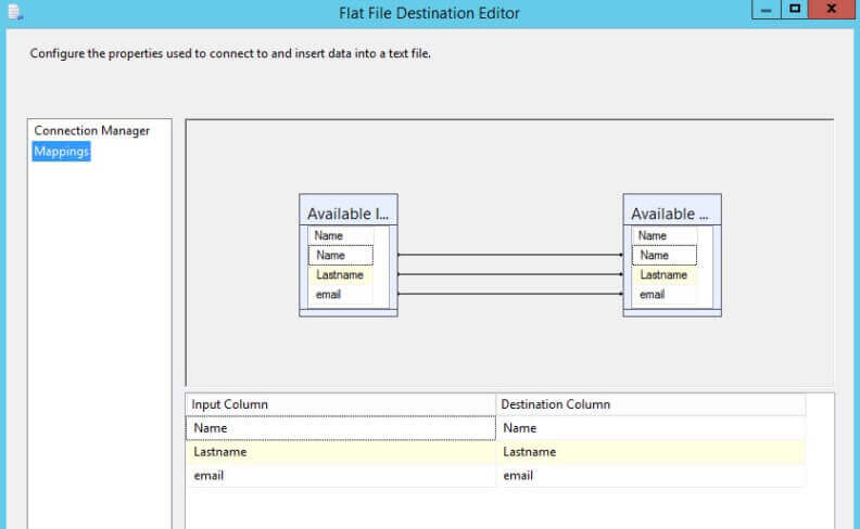 Map the columns in the Flat File Destination Editor