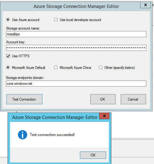 Paste the Storage account name and the key1 in the Azure Storage Connection Manager Editor