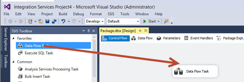 Drag a Data Flow Task in the SQL Server Data Tools