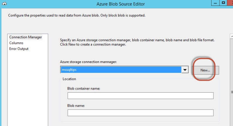 Azure Blob Source Editor