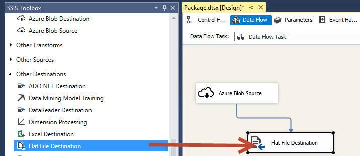 Drag a Flat File Destination into the Data Flow