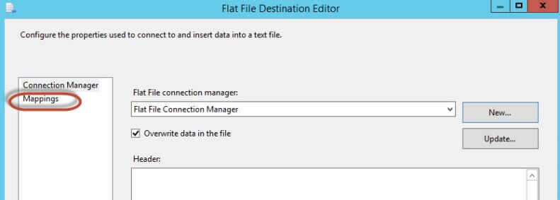 Click on the Mappings option in the Flat File Destination Editor