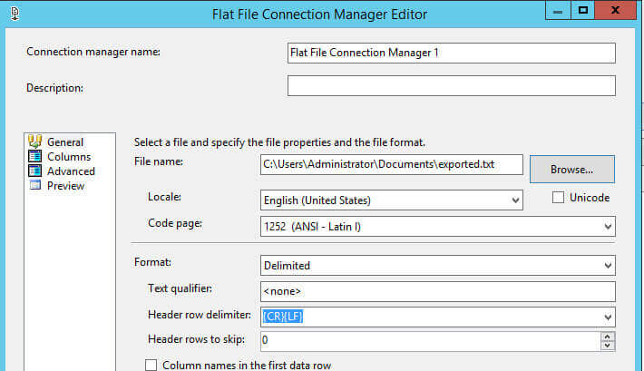Specify the Properties for the Flat File Destination Editor