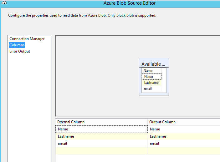 Validate the columns are recognized in the Azure Blob Source Editor