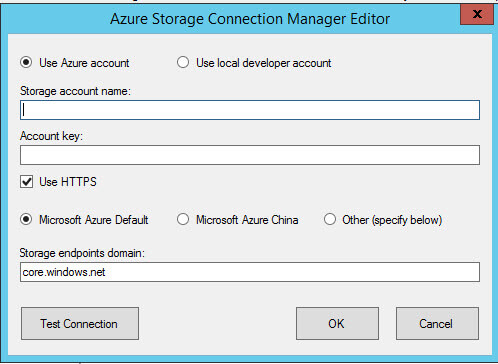 Azure Storage Connection Manager Editor