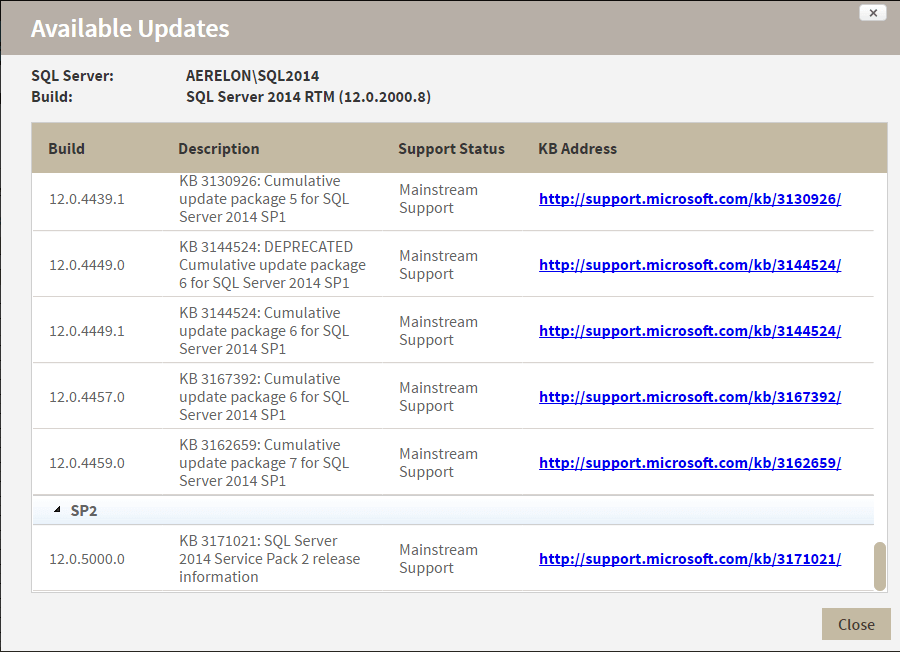 sql inventory manager available updates