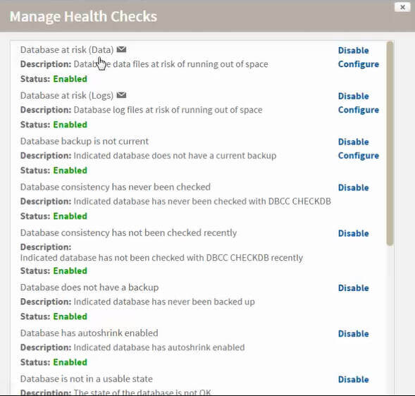 sql inventory manager health checks