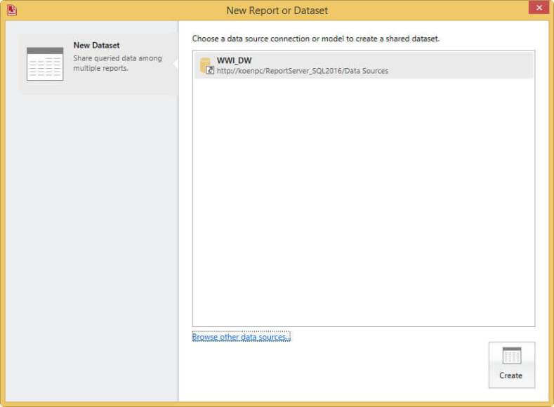 create new data set - select data source in SQL Server Report Builder for a KPI