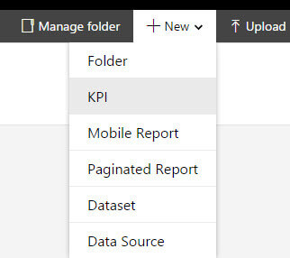 Create new object in SQL Server Report Builder for a KPI