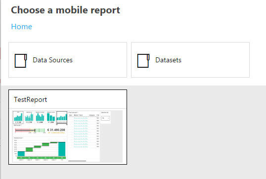 Choose a mobile report in SQL Server Reporting Services 2016