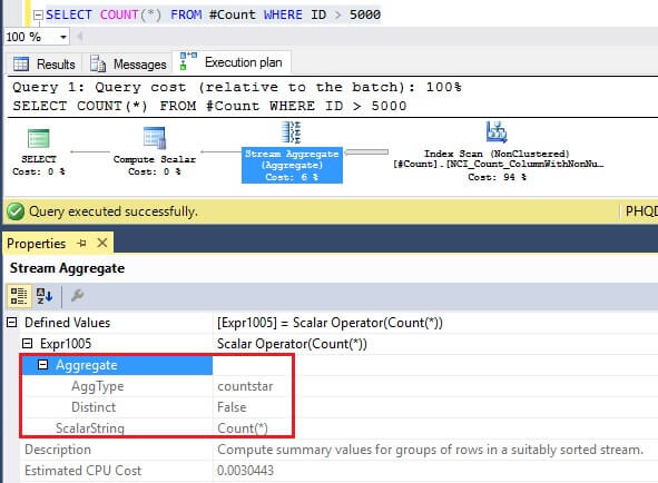 SQL Server Execution Plan for COUNT(*)