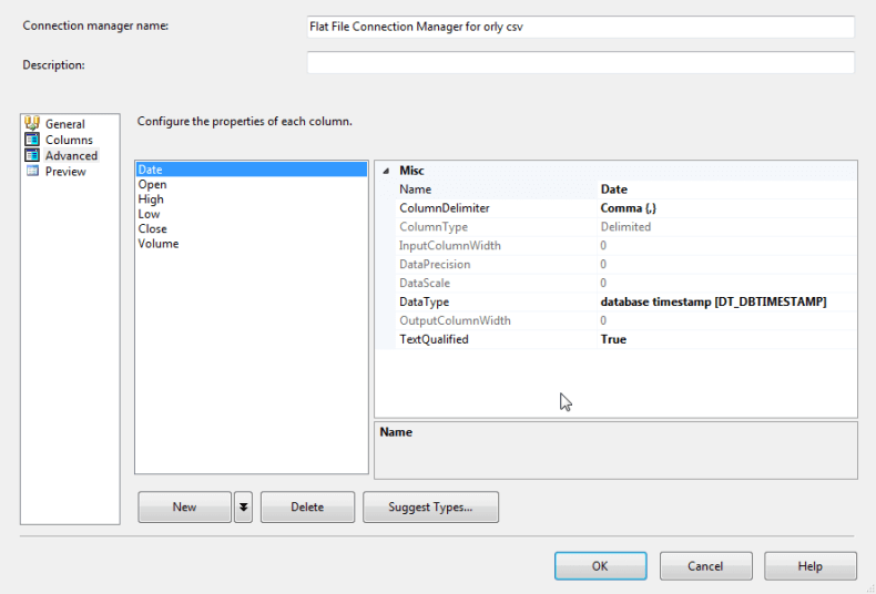 Date column in the Advanced Tab of the SQL Server Integration Services Connection Manager