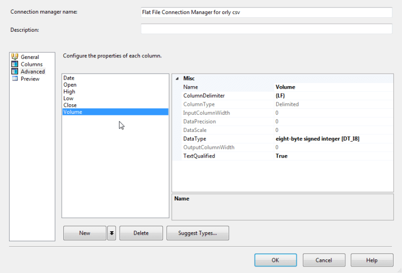 Volume column in the Advanced Tab of the SQL Server Integration Services Connection Manager
