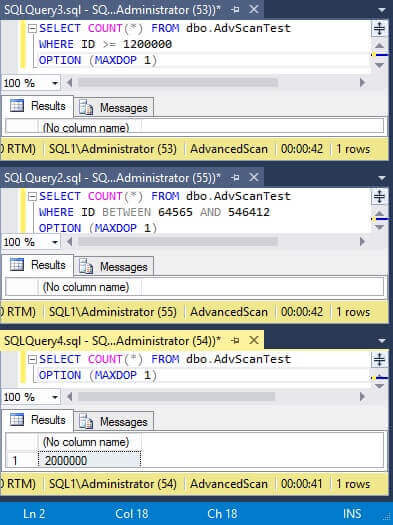 Three Test SQL Server Queries Running for Apprioximately 40 seconds