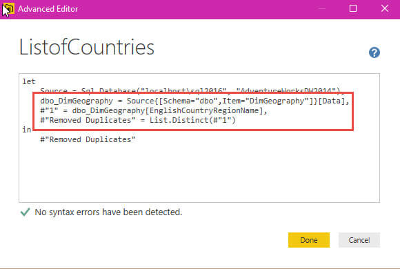 Advanced Editor for the ListofCountries query in Power BI