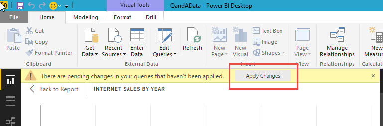 Apply the pending changes in Power BI