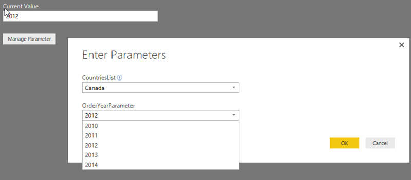 Edit Parameters CountriesList and OrderYearParameter in Power BI